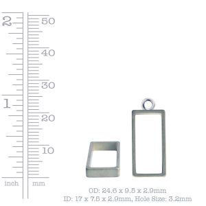 Open Frame Small Rectangle Single LoopSterling Silver Plate