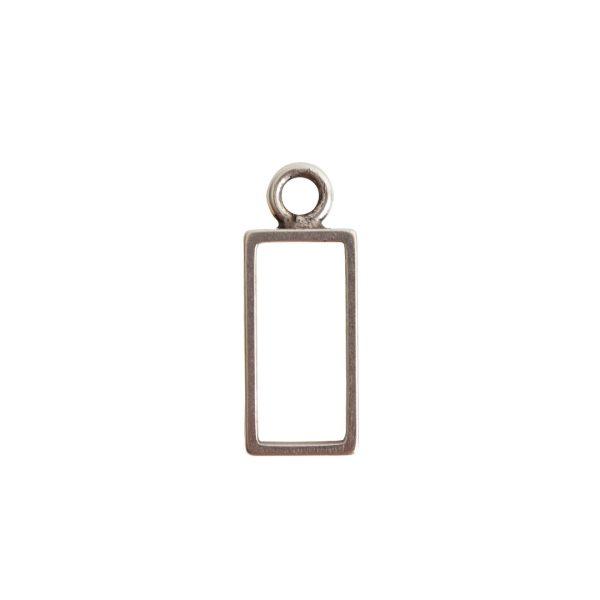 Open Frame Small Rectangle Single LoopAntique Silver
