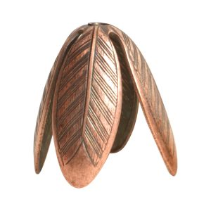 Beadcap 14mm Grande LeafAntique Copper