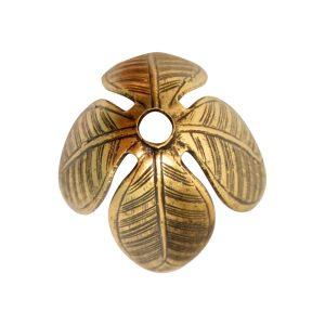 Beadcap 14mm Grande LeafAntique Gold