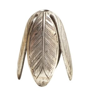 Beadcap 14mm Grande LeafAntique Silver