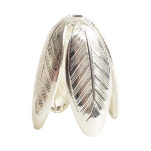 Beadcap 14mm Grande LeafSterling Silver Plate