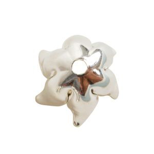 Beadcap 8mm Curled Petal<br>Sterling Silver Plate