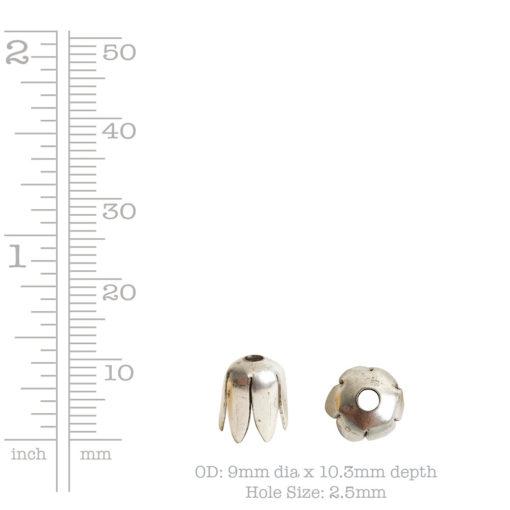 Beadcap 8mm Flower PetalAntique Silver