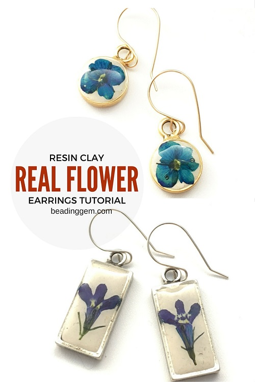 resin+clay+real+flower+earrings+tutorial