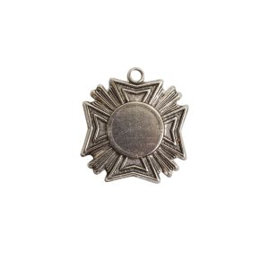 Brass Medallion Mini Starburst Single LoopAntique Silver