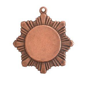 Brass Medallion Small Starburst Single LoopAntique Copper
