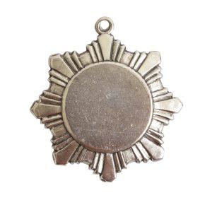 Brass Medallion Small Starburst Single LoopAntique Silver