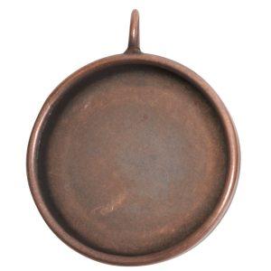 Deep Bezel Pendant Circle GrandeAntique Copper