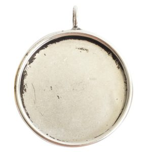 Deep Bezel Pendant Circle GrandeAntique Silver