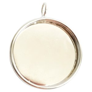Deep Bezel Pendant Circle GrandeSterling Silver Plate