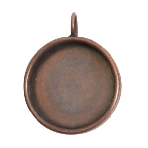 Deep Bezel Pendant Circle LargeAntique Copper
