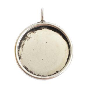 Deep Bezel Pendant Circle LargeAntique Silver