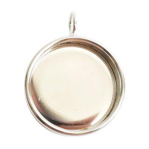 Deep Bezel Pendant Circle LargeSterling Silver Plate