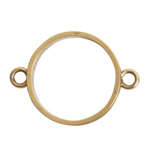 Open Bezel Channel Narrow Large Circle Double LoopAntique Gold