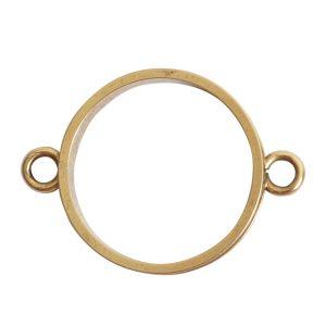 Open Bezel Channel Narrow Large Circle Double LoopAntique Gold