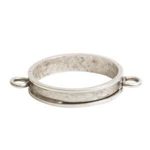 Open Bezel Channel Narrow Large Circle Double LoopAntique Silver
