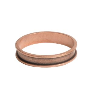 Open Bezel Channel Narrow Large Circle Single LoopAntique Copper