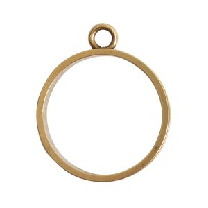 Open Bezel Channel Narrow Large Circle Single LoopAntique Gold