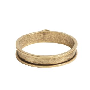 Open Bezel Channel Narrow Large Circle Single LoopAntique Gold