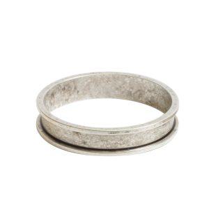 Open Bezel Channel Narrow Large Circle Single LoopAntique Silver