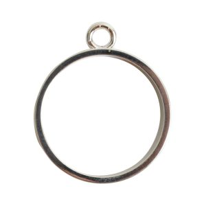Open Bezel Channel Narrow Large Circle Single LoopSterling Silver Plate