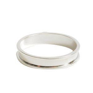 Open Bezel Channel Narrow Large Circle Single LoopSterling Silver Plate