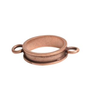 Open Bezel Channel Narrow Small Circle Double LoopAntique Copper