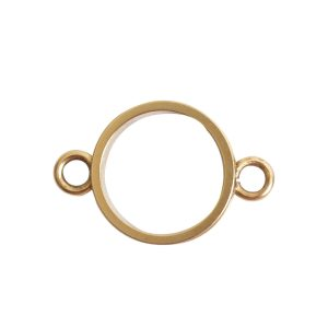 Open Bezel Channel Narrow Small Circle Double LoopAntique Gold