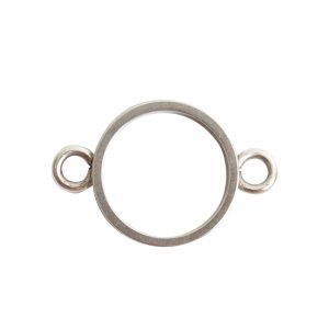 Open Bezel Channel Narrow Small Circle Double LoopAntique Silver