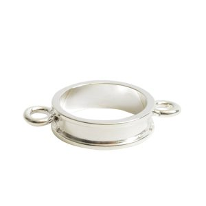 Open Bezel Channel Narrow Small Circle Double LoopSterling Silver Plate