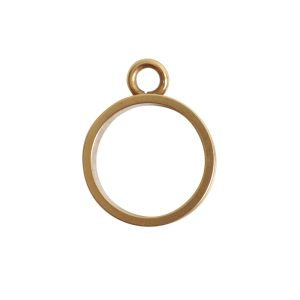 Open Bezel Channel Narrow Small Circle Single LoopAntique Gold