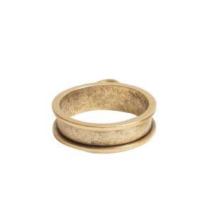Open Bezel Channel Narrow Small Circle Single LoopAntique Gold