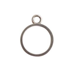 Open Bezel Channel Narrow Small Circle Single Loop<br>Antique Silver