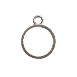 Open Bezel Channel Narrow Small Circle Single LoopAntique Silver