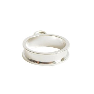 Open Bezel Channel Narrow Small Circle Single LoopSterling Silver Plate