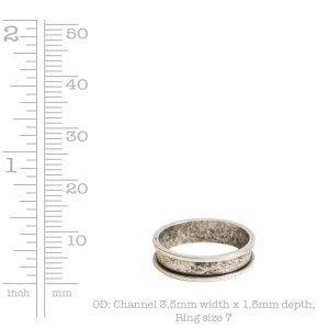 Ring Channel Narrow Size 7Antique Gold
