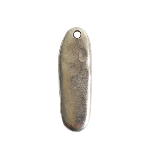 Primitive Tag Elongated Oval Single HoleAntique Silver
