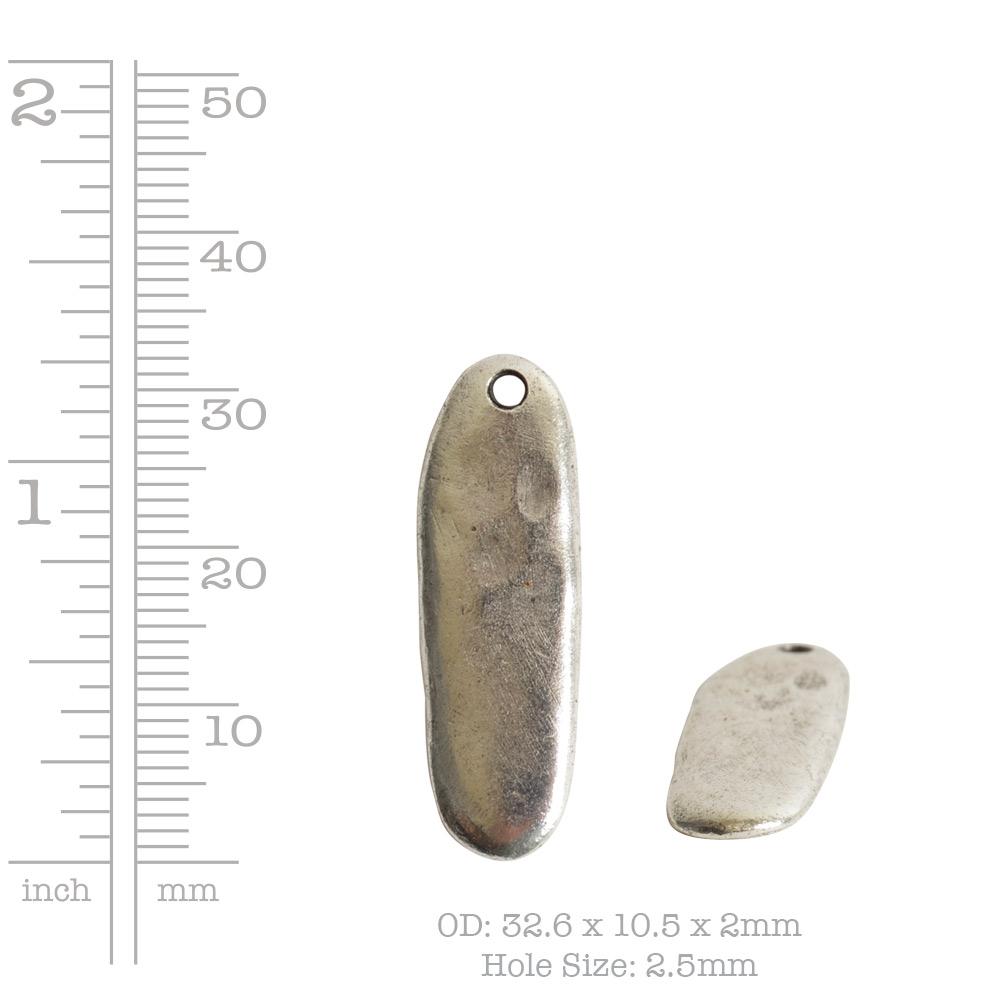 Primitive Tag Elongated Oval Single HoleAntique Silver