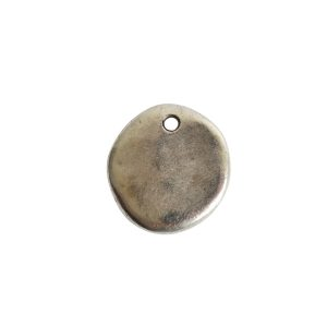 Primitive Tag Small Circle Single Hole<br>Antique Silver