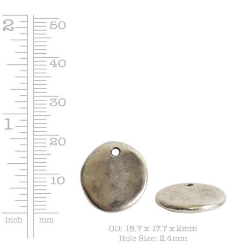 Primitive Tag Small Circle Single HoleAntique Silver