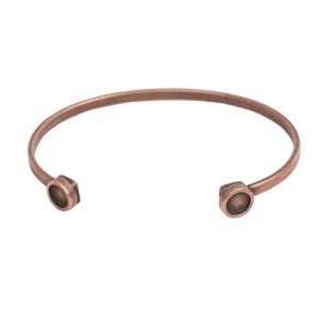 Cuff Bracelet Bezel CircleAntique Copper