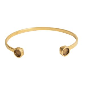 Cuff Bracelet Bezel CircleAntique Gold