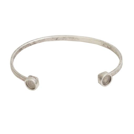 Cuff Bracelet Bezel CircleAntique Silver