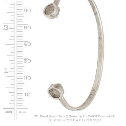 Cuff Bracelet Bezel CircleAntique Copper