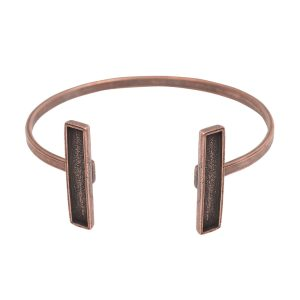 Cuff Bracelet Bezel RectangleAntique Copper