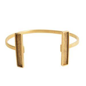 Cuff Bracelet Bezel RectangleAntique Gold