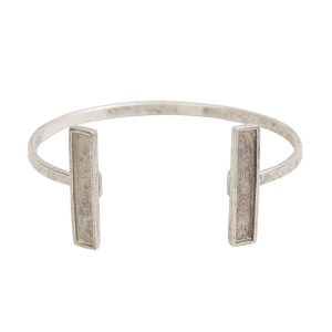Cuff Bracelet Bezel RectangleAntique Silver
