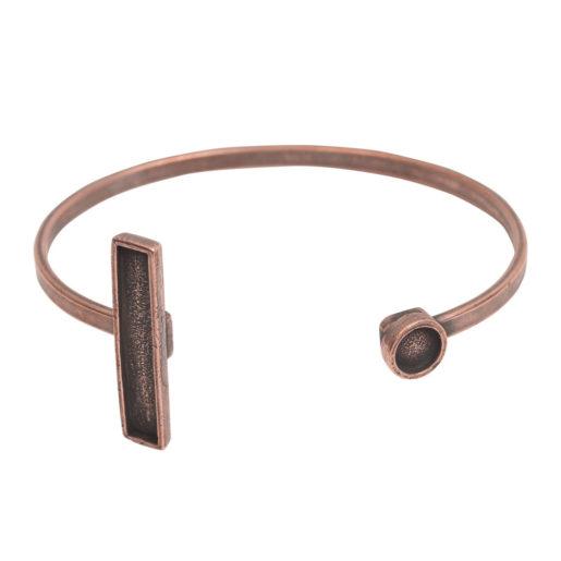 Cuff Bracelet Bezel Rectangle & Circle<br>Antique Copper 1