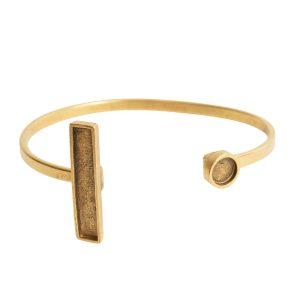 Cuff Bracelet Bezel Rectangle & CircleAntique Gold
